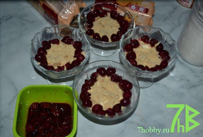 творожный десерт без выпечки с печеньем