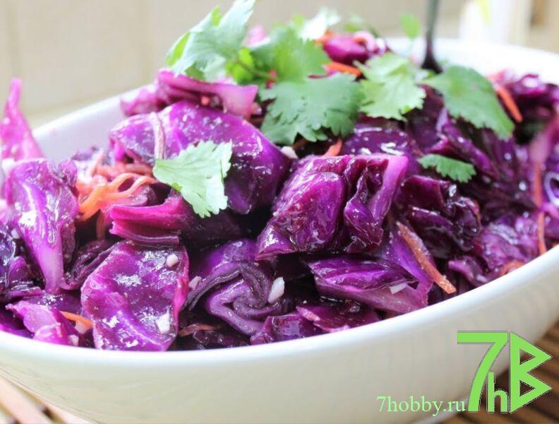 салат из фиолетовой капусты с уксусом и маслом